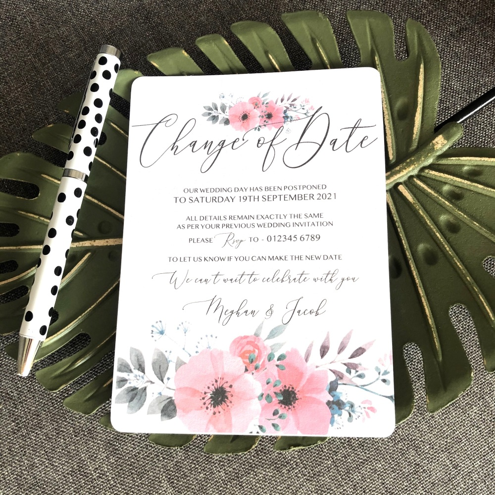 10 Change of Date Wedding Postponement Cards - Pink and Grey