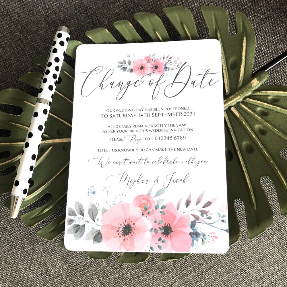 10 Change of Date Wedding Postponement Cards Pink Grey