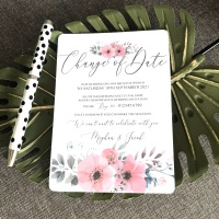 10 Change of Date Wedding Postponement Cards Pink Grey