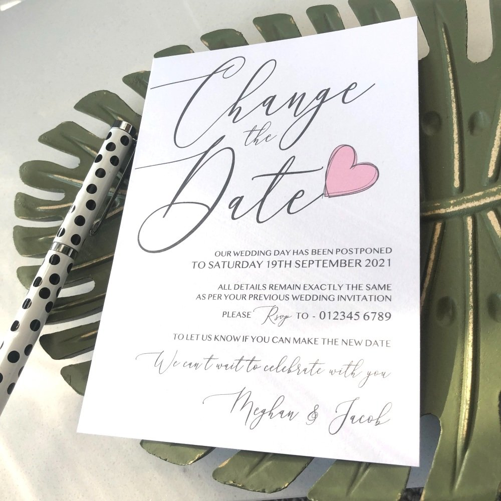 Modern Change of Wedding Date Personalised Cards - Pink Heart
