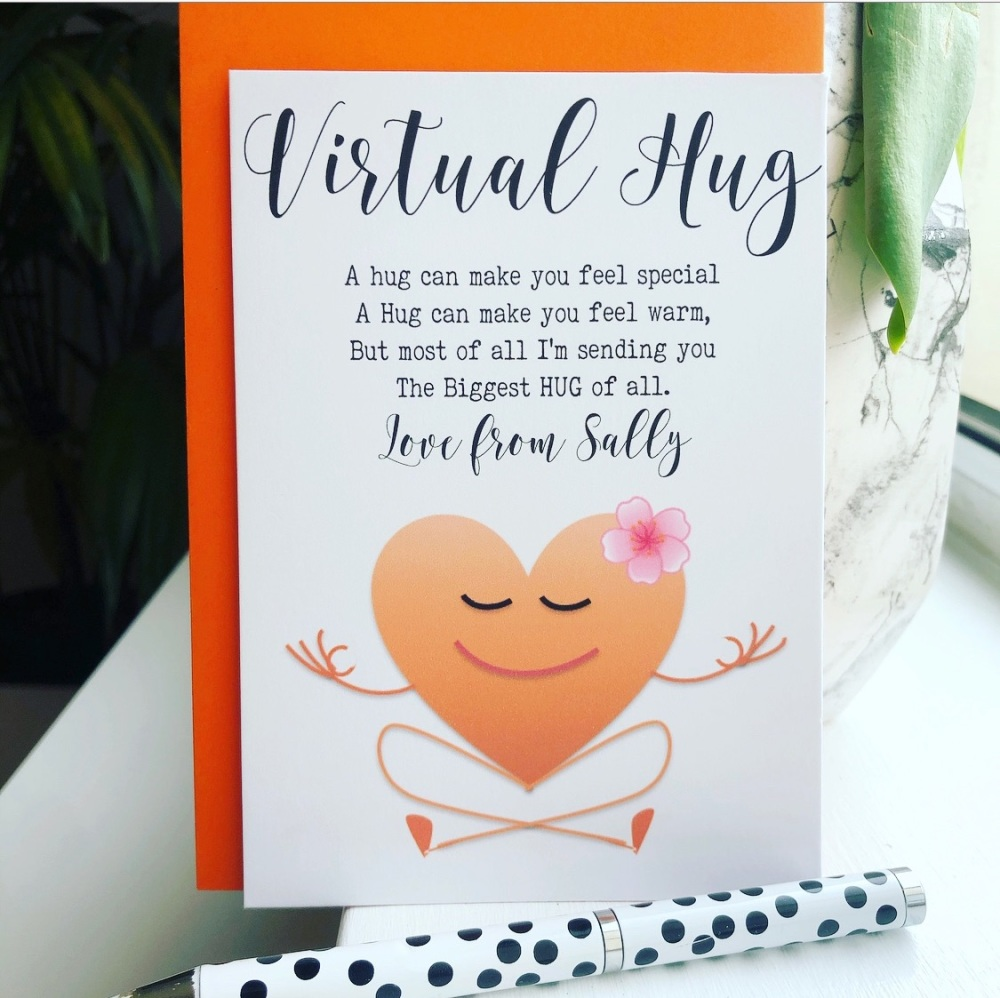 10 Virtual Hug Poem Cards Yoga Gift Cards Personalised