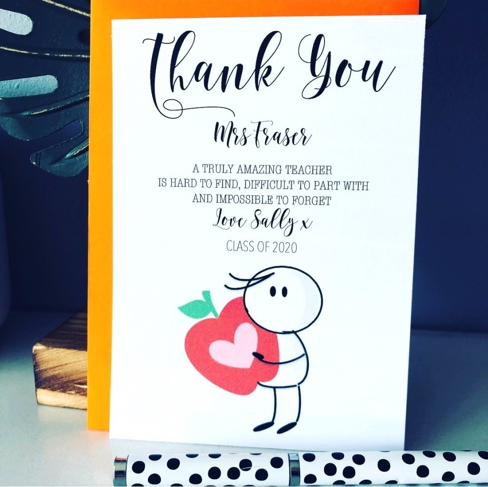 5 Pack Thank You Amazing Teacher Personalised Cards Class of 2020