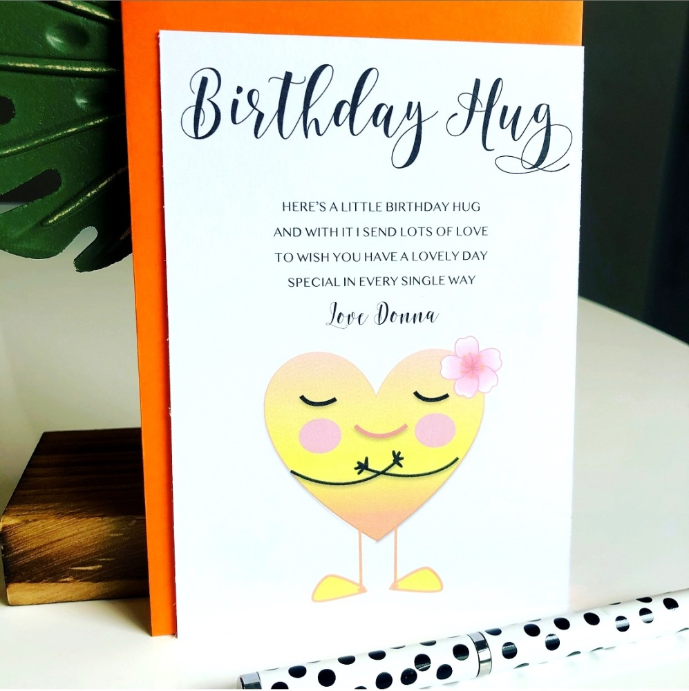 5 Birthday Hugs Poem Cards with Envelopes