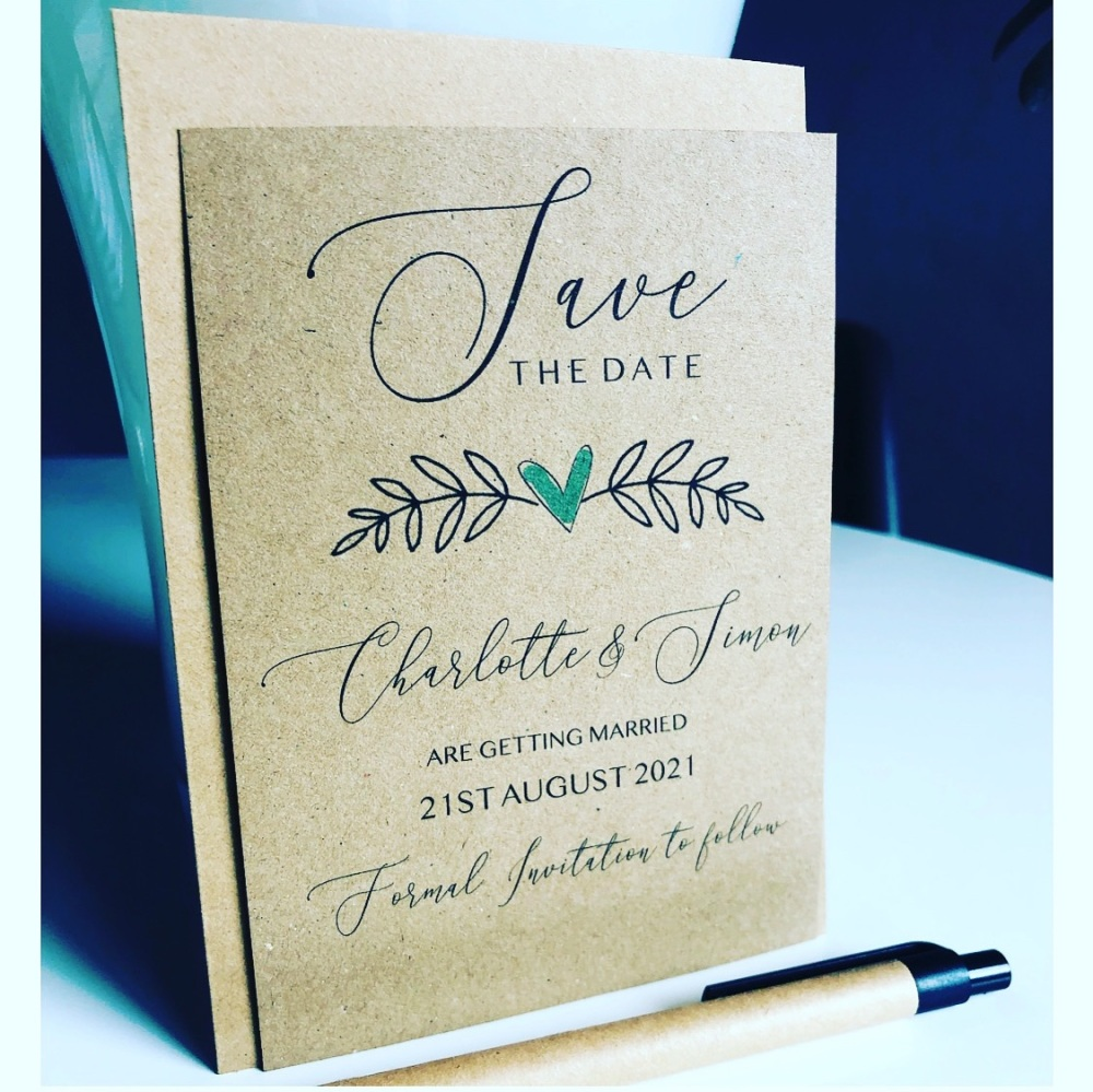 Rustic Greenery Save the Date Cards