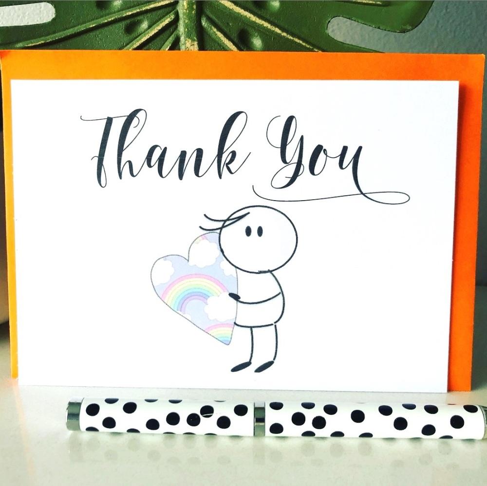 10 Blank Thank You Cards A6 Folded Rainbow Hug Design