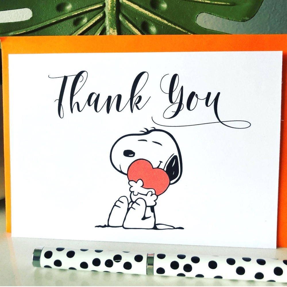 10 Blank Thank You Cards A6 Folded Snoopy Hug Design