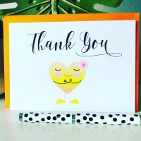 10 Thank You Cards A6 Folded Yellow Heart Design