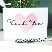 10 Pink Heart Thank You Cards