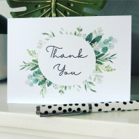 10 Rustic Green Thank You Cards Pack with Envelopes