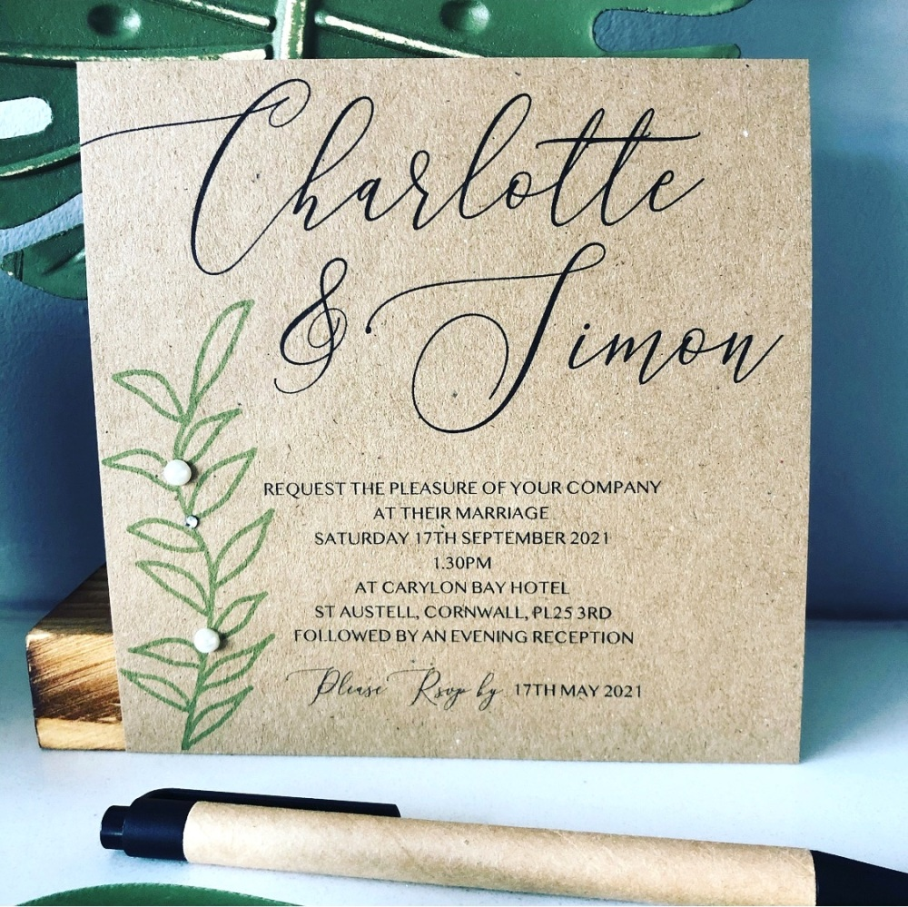 Rustic Elegance Wedding Invitations Pack of 10