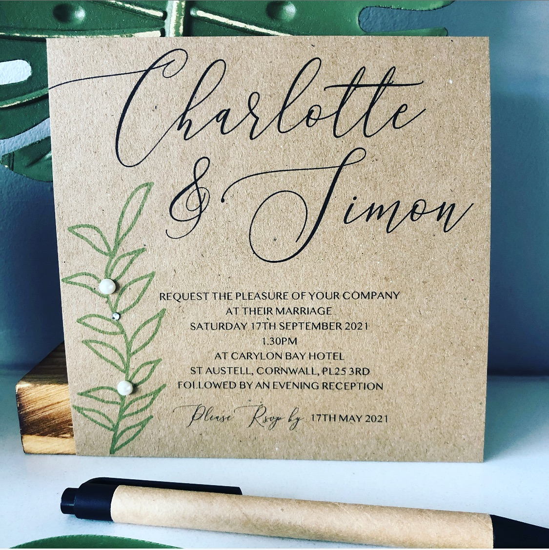 Modern rustic wedding invitation in brown