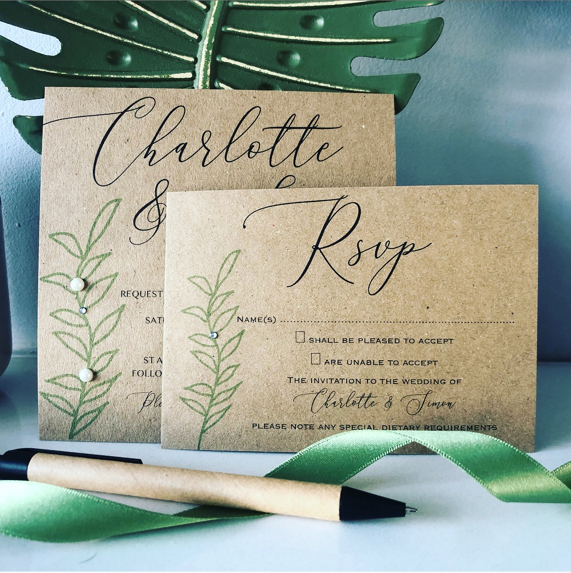 Rustic brown and green wedding invitation with rsvp card