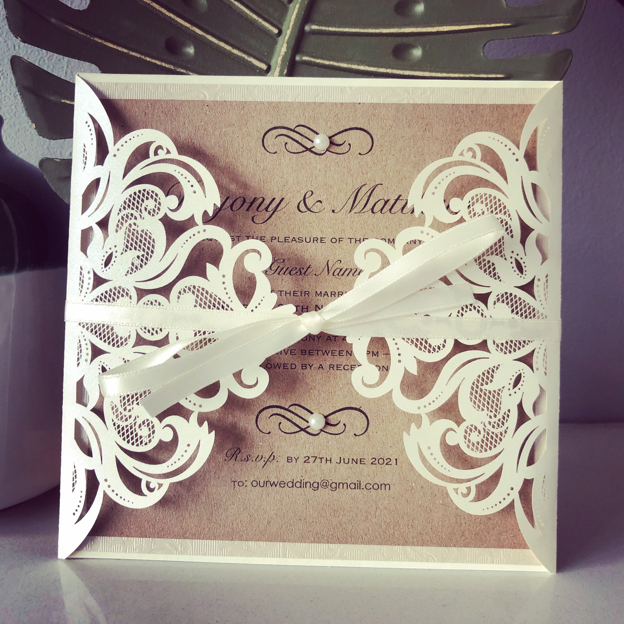 Rustic laser cut wedding invitation