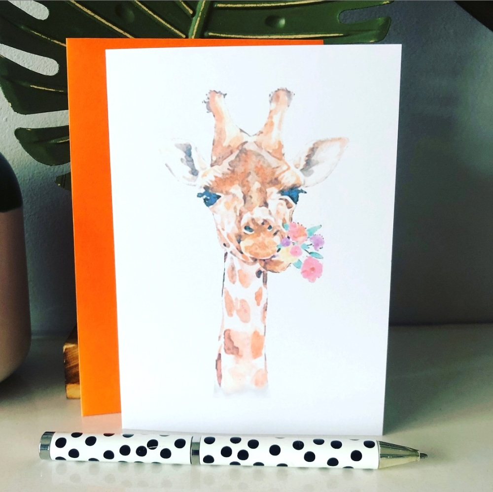 6 Giraffe Blank Cards Pack