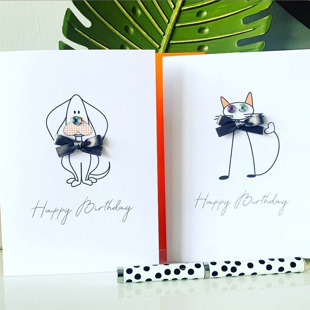 Birthday Multipack Cards Cat Dog Animal Pack of 8