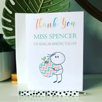 Personalised Thank You Teacher Teaching Assistant Card Keepsake Gift