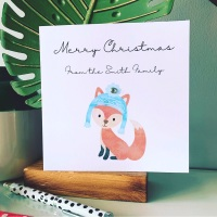 10 Personalised Fox Christmas Cards Family Friends Corporate