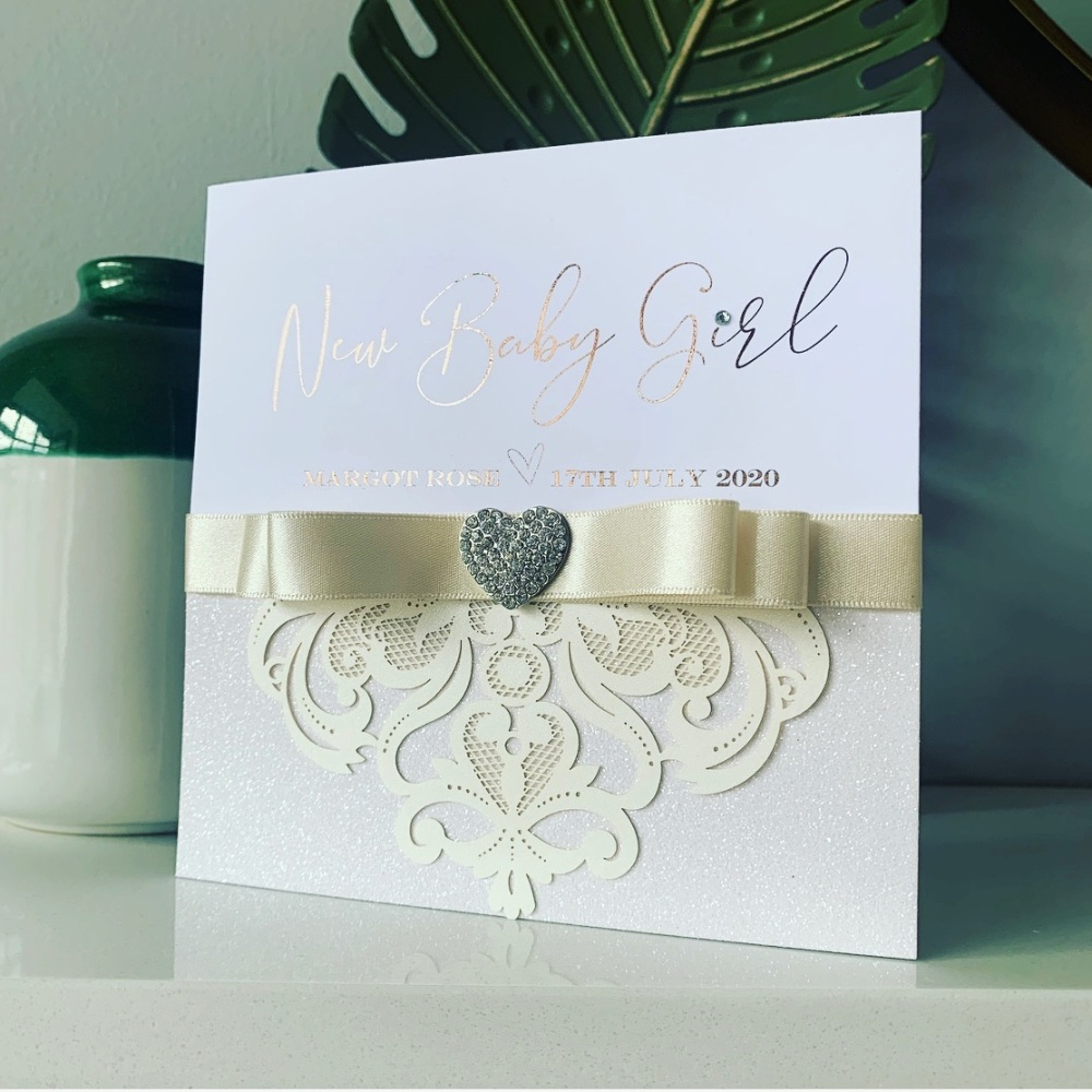 New Baby Luxury Personalised Card with Gift Box