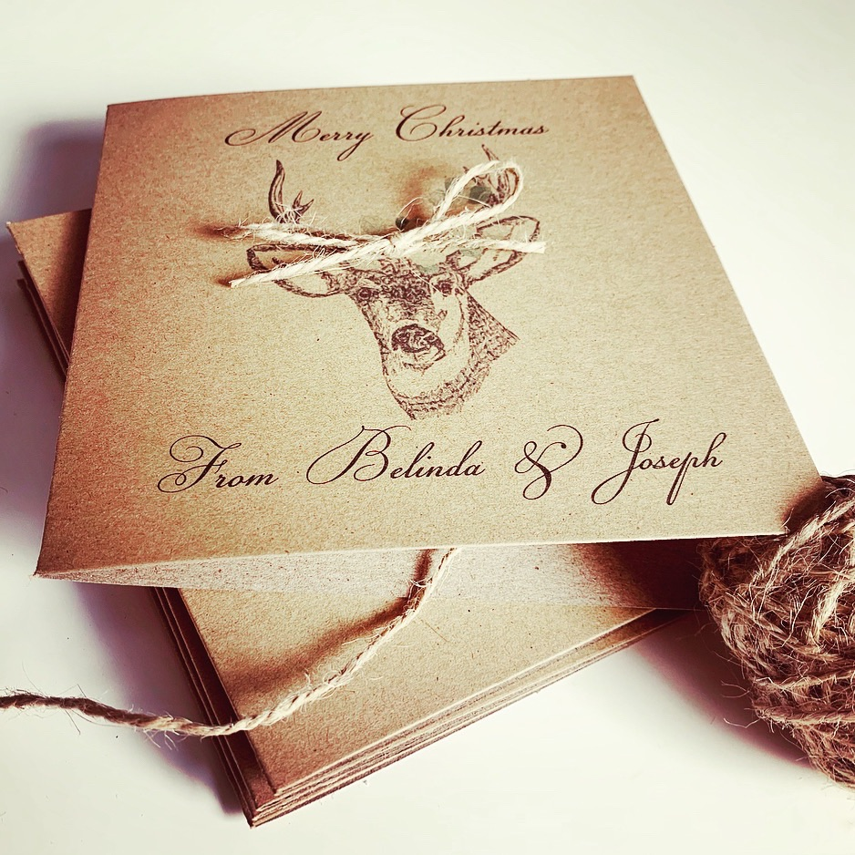 10 Woodland Rustic Christmas Cards Personalised