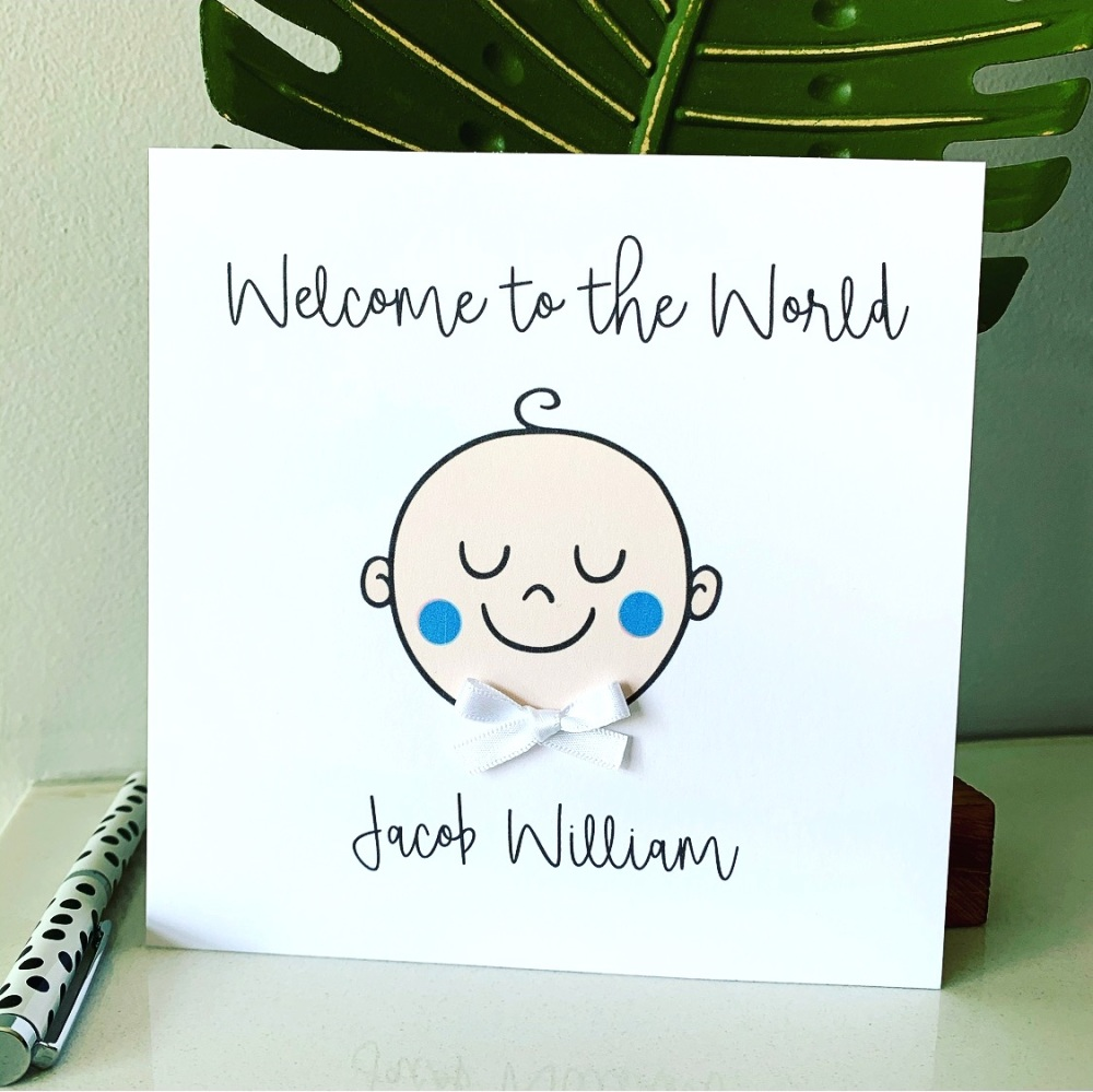 New Baby Girl Boy or Twins Personalised Card