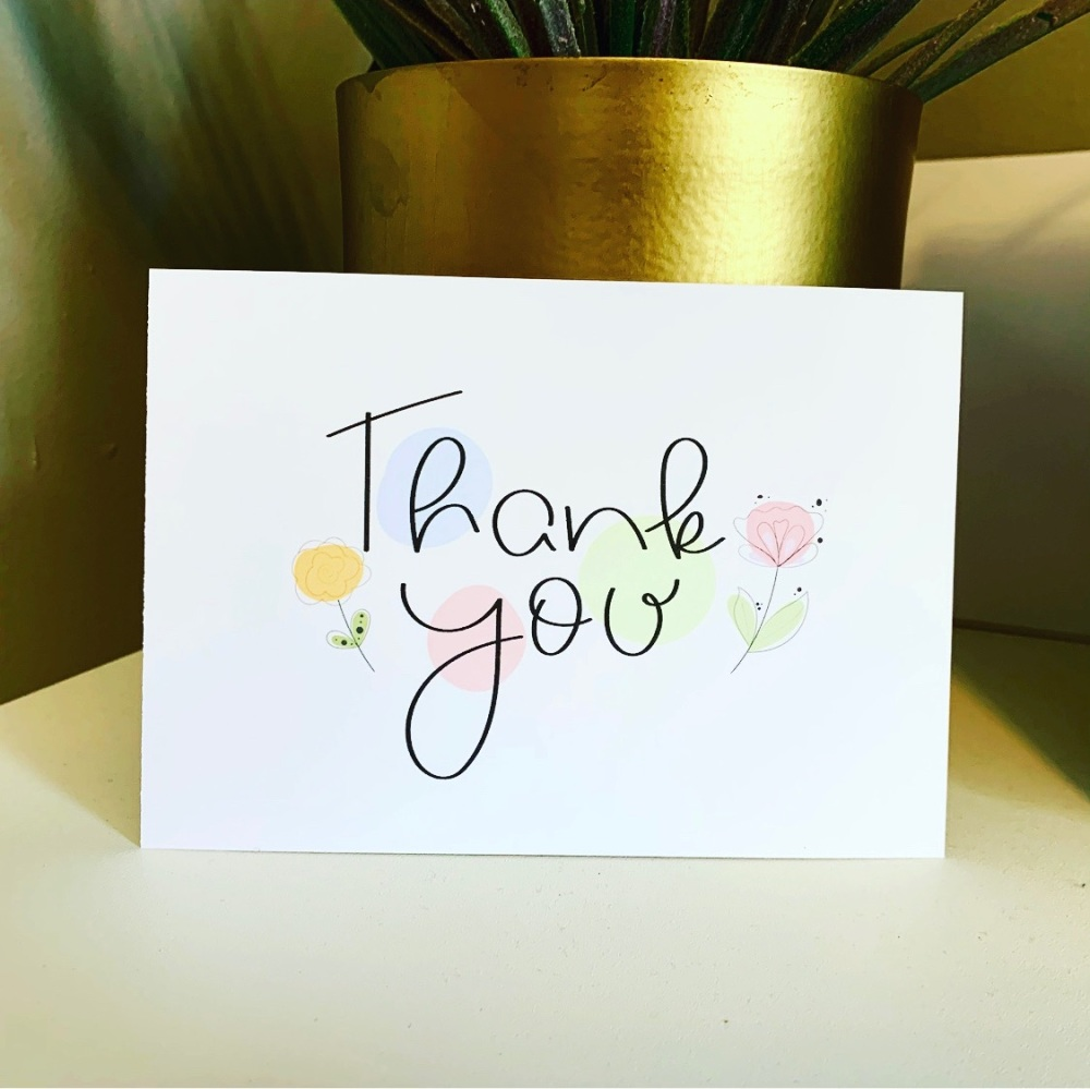 10 Thank You Cards Pack Postcards or Folded Style