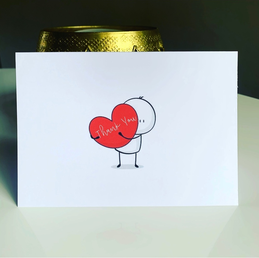 10 Thank You Cards A6 Folded Red Hug Design