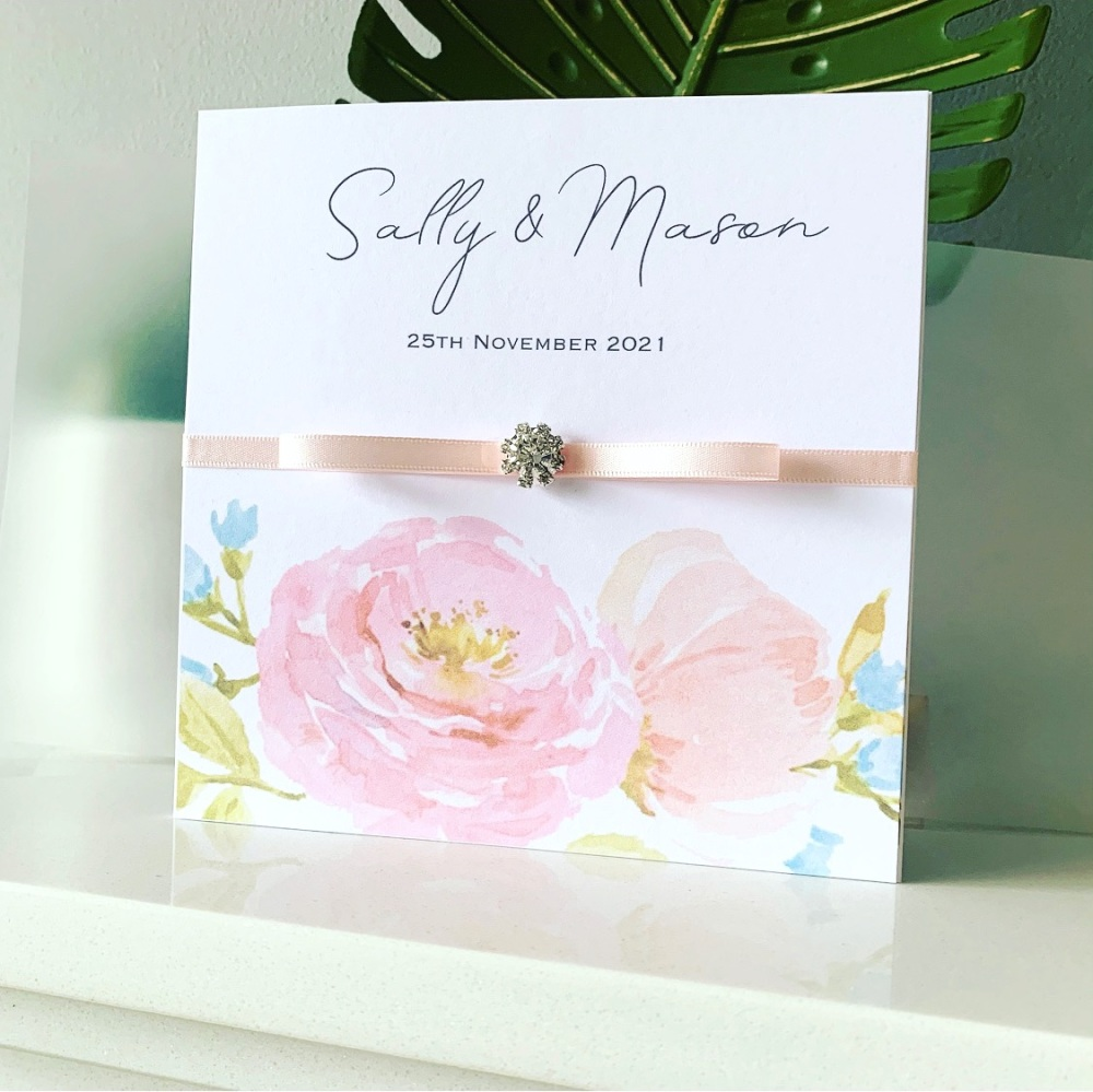 Luxury Floral Pink Wedding Invitation Sample