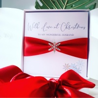 Luxury Christmas Card with Red Ribbon