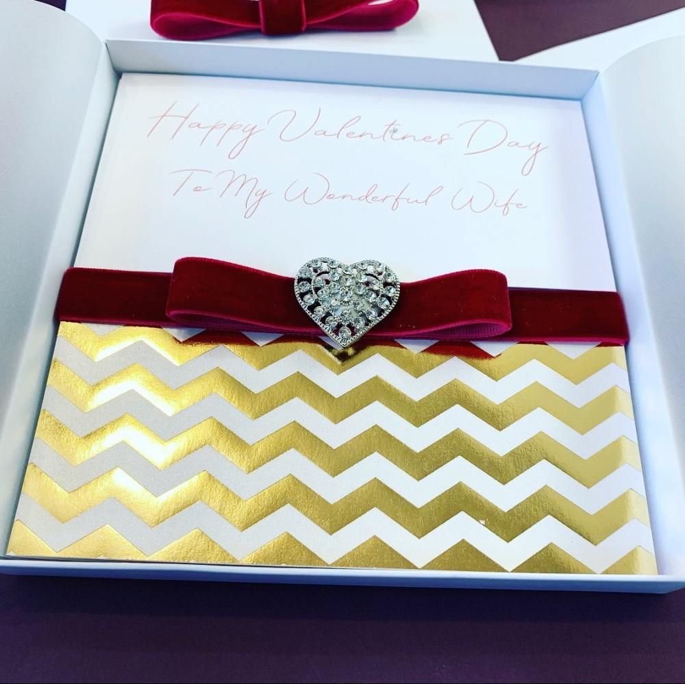 Luxury Valentines Card with Heart Brooch