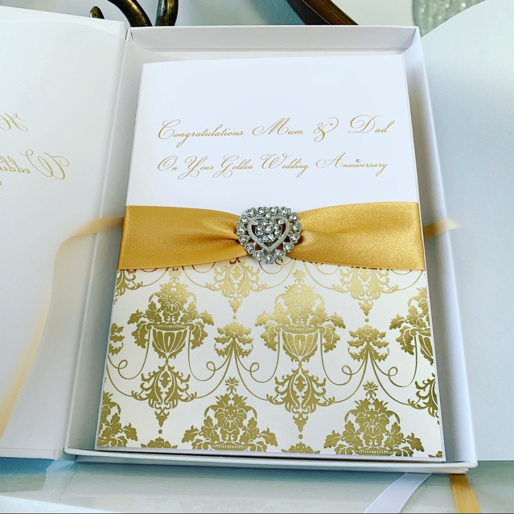 50th Golden Wedding Anniversary Luxury Card with Gift Box