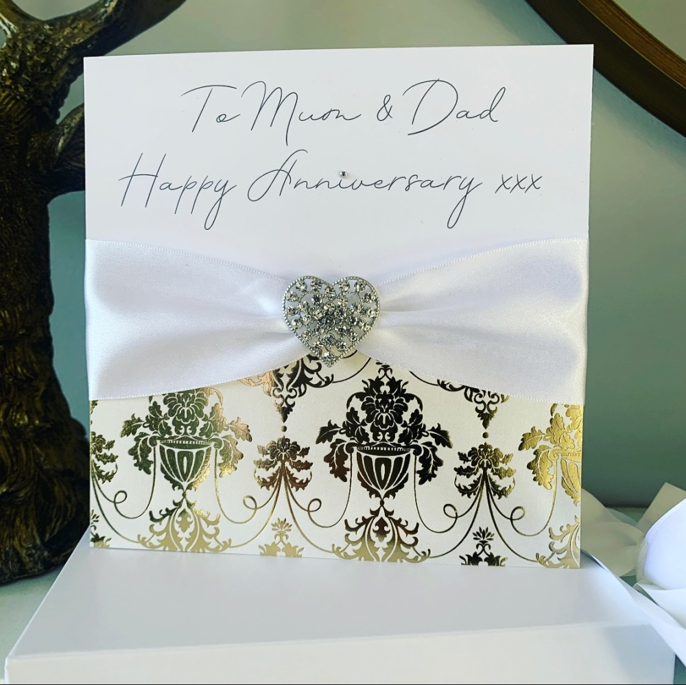 Luxury Wedding Anniversary Card with Crystal Diamante Heart