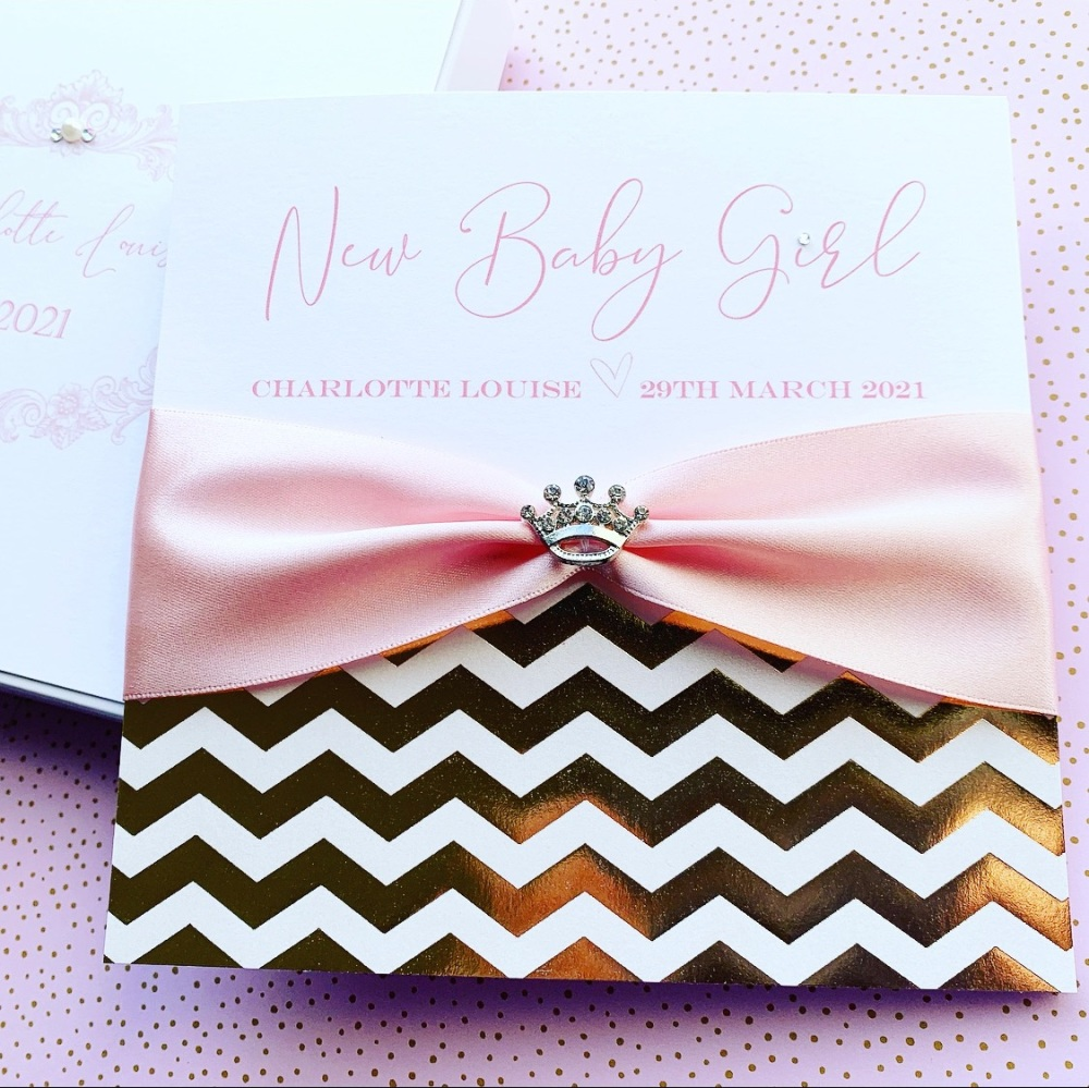 New Baby Luxury Baby Girl Personalised Card with Keepsake Gift Box