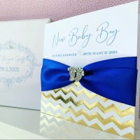 New Baby Boy Personalised Card with Gift Box