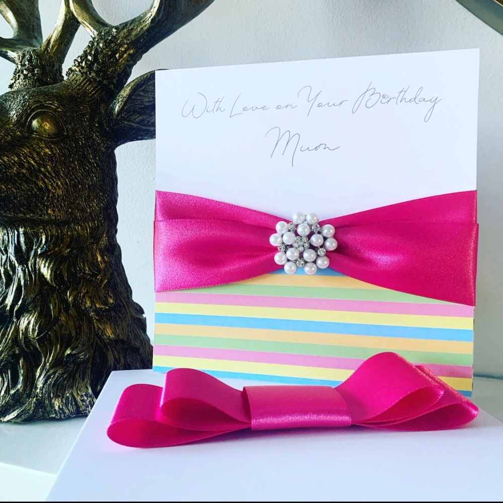 Luxury Personalised Birthday Card with Pearl