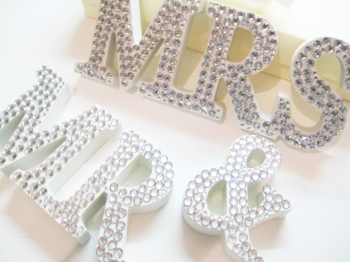Glitzy Mr and Mrs Wedding Sign Letters with Diamante