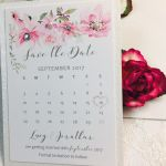 Floral themed save the date cards with sparkles