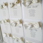 Wedding table  plan with champagne ribbon and diamante