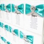 Wedding seating plan with crystal hearts