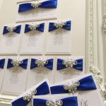 Wedding table plan with diamante butterfly and blue ribbon