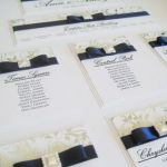 Navy and silver table plan with pearl