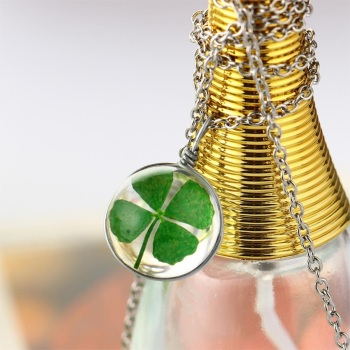 Natural Dried Shamrock Leaf Good Luck Pendant Spherical