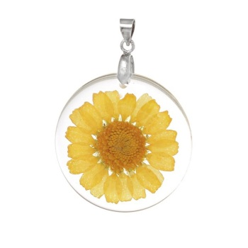Natural dried daisy flower necklace - Yellow