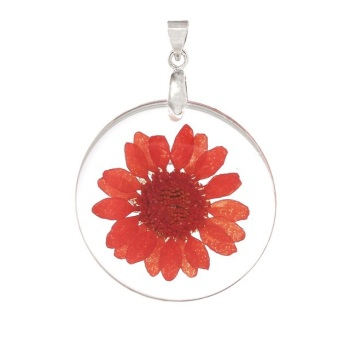 Natural dried daisy flower necklace - Orange