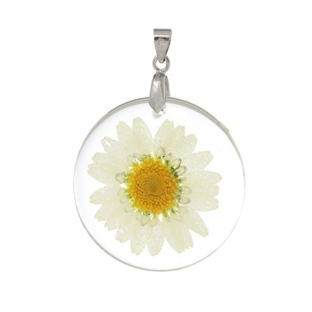 Natural dried daisy flower necklace - White
