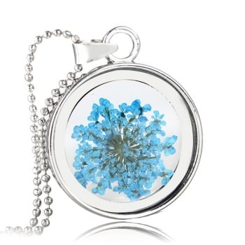 Natural Dried Flower Necklace with  Pendant - Round, Blue