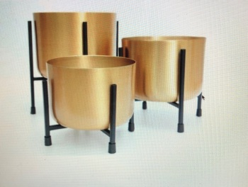 Gold Planters on Stand Set of 3 Large Plant Pots with Individual Black Racks