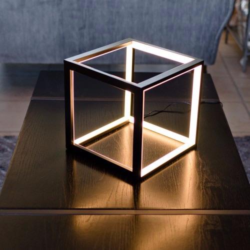 Black Cube Box LED Table Lamp