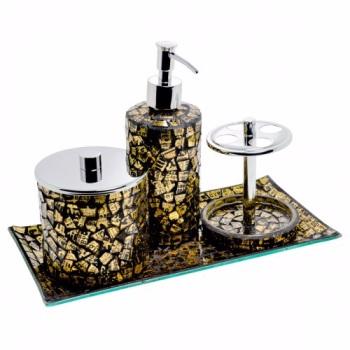 4-Piece Glass Silver Leaf Mosaic Gold Bathroom Accessories Set