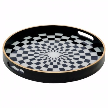 Chequered Black, White, Silver  & Gold Glass Tray - Large