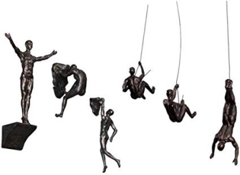 6x Large Bronze Climbing Abseiling Hanging Ornaments Figures Set of 6 Climer Men